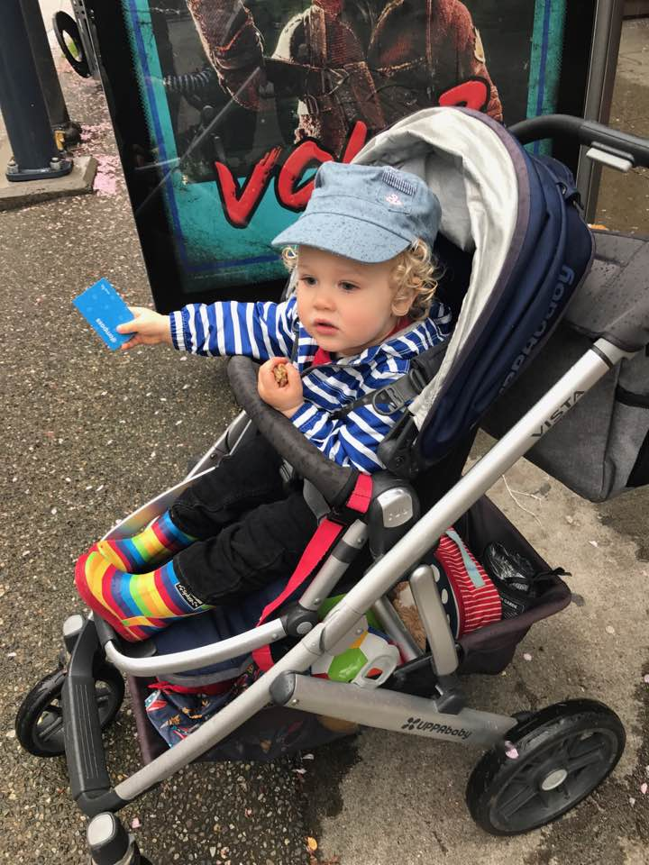 Becoming a Grandparent: Charlie on his way to daycare, bus card in hand!