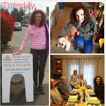 Tuesday: Yoga, Dog-Walking and Dinner