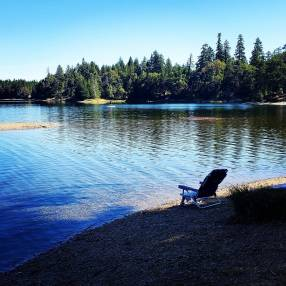 Spider Lake, 16 km west of Qualicum Beach, BC. While there, also visit nearby Horne Lake.